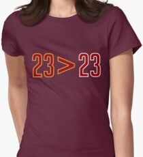 LeBron Greater Than Jordan (Black) Womens Fitted T-Shirt