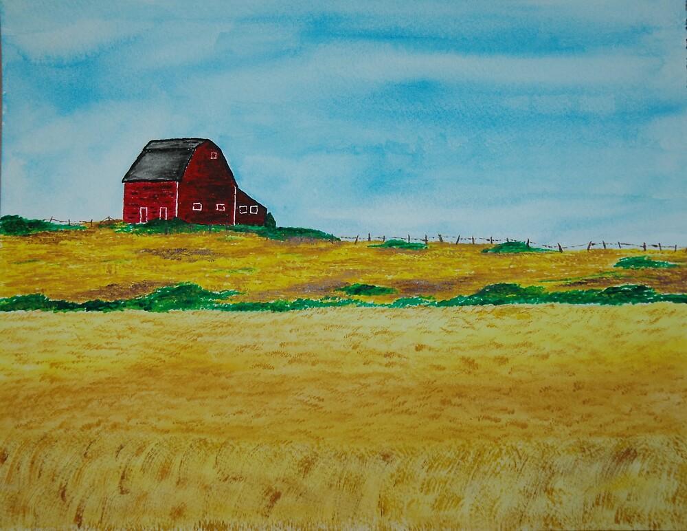 Red Barn, Golden Fields by wwalla