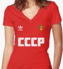 Soviet football team Women's Fitted V-Neck T-Shirt