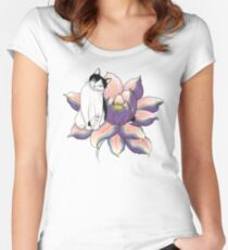 Lotus Cat Women's Fitted Scoop T-Shirt