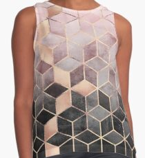 Pink And Grey Gradient Cubes Contrast Tank