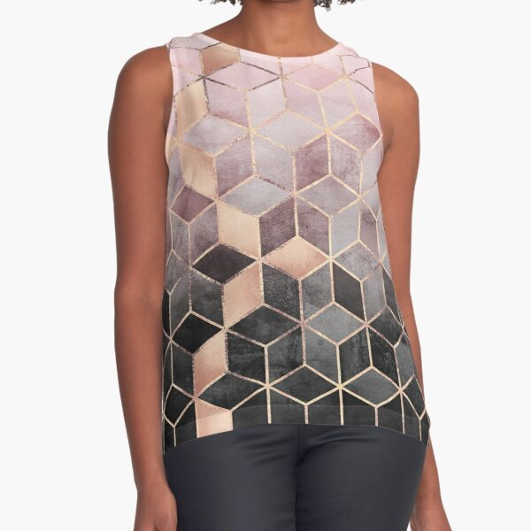 Pink And Grey Gradient Cubes Sleeveless Top