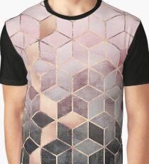 Rosa und graue Farbverlaufswürfel Grafik T-Shirt