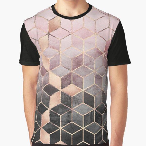 Cubos de degradado rosa y gris Camiseta gráfica