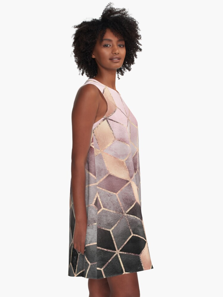 Alternate view of Pink And Grey Gradient Cubes A-Line Dress