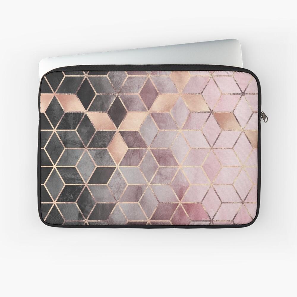 Rosa und graue Farbverlaufswürfel Laptoptasche