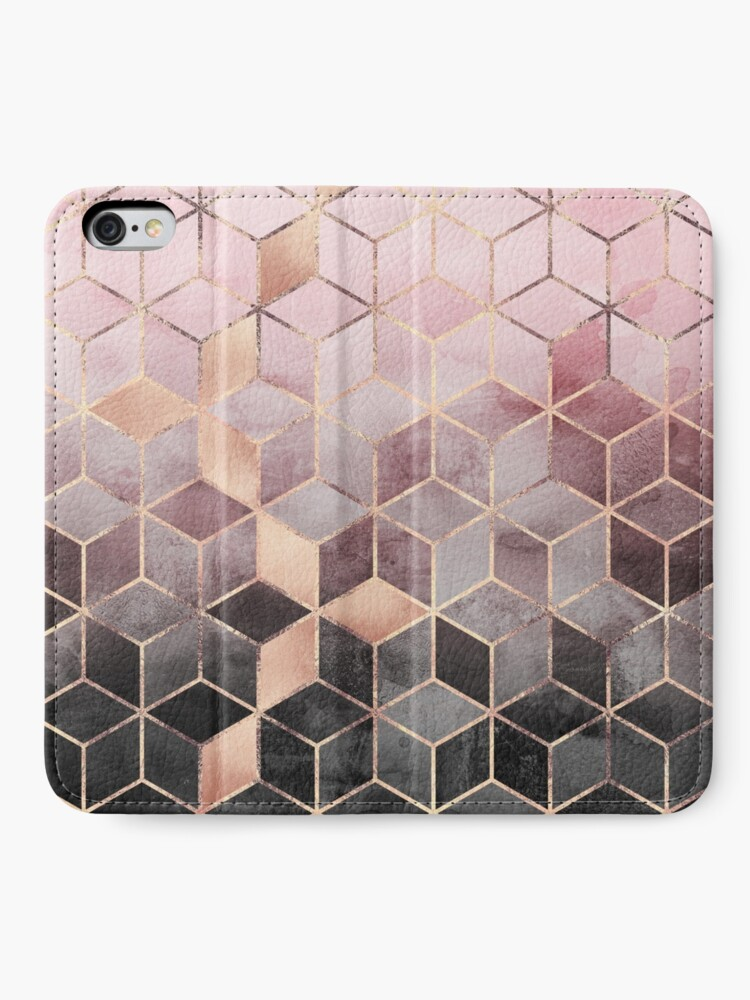 Alternate view of Pink And Grey Gradient Cubes iPhone Wallet