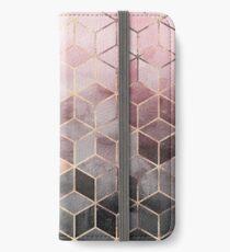 Rosa und graue Farbverlaufswürfel iPhone Flip-Case/Hülle/Klebefolie