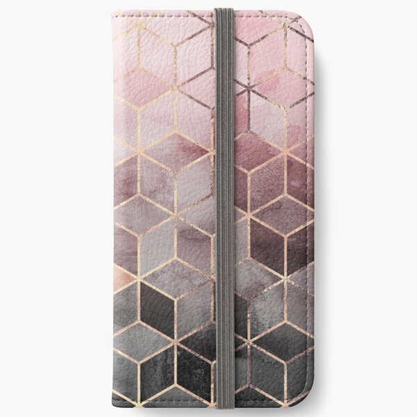 Pink And Grey Gradient Cubes iPhone Wallet