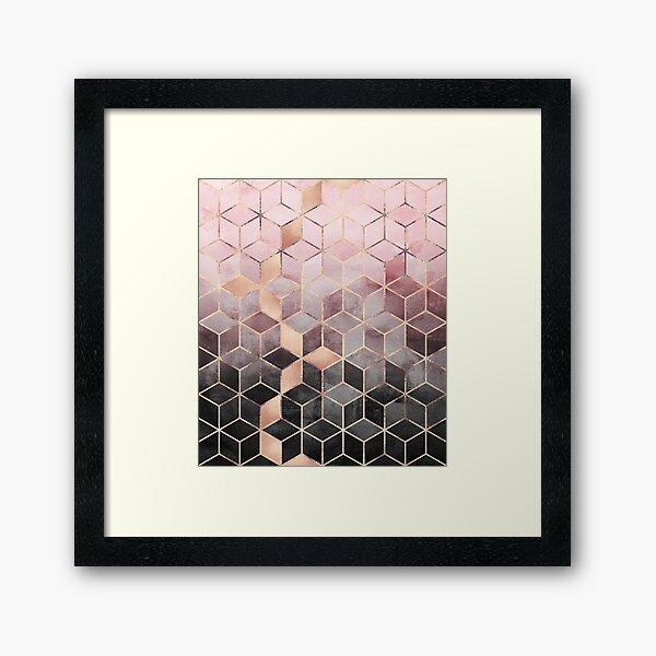Rosa und graue Farbverlaufswürfel Gerahmter Kunstdruck