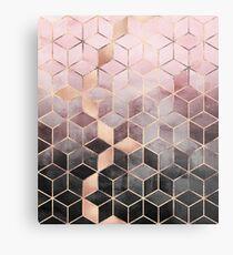 Rosa und graue Farbverlaufswürfel Metallbild