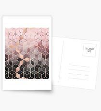 Pink And Grey Gradient Cubes Postcards