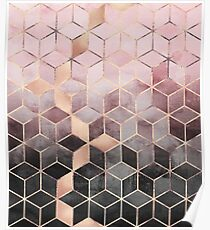 Pink And Grey Gradient Cubes Poster