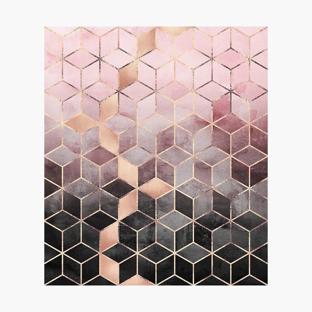 Rosa und graue Farbverlaufswürfel Fotodruck