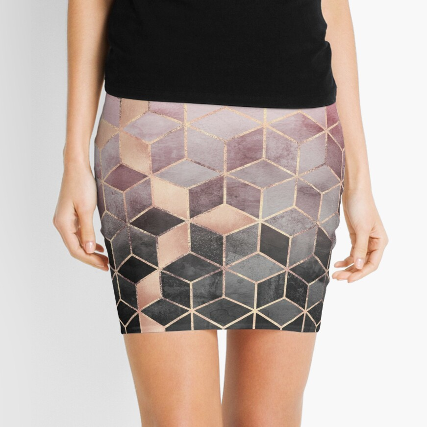 Pink And Grey Gradient Cubes Mini Skirt