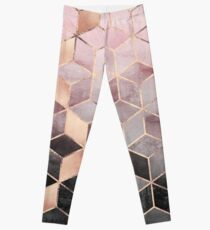 Pink And Grey Gradient Cubes Leggings