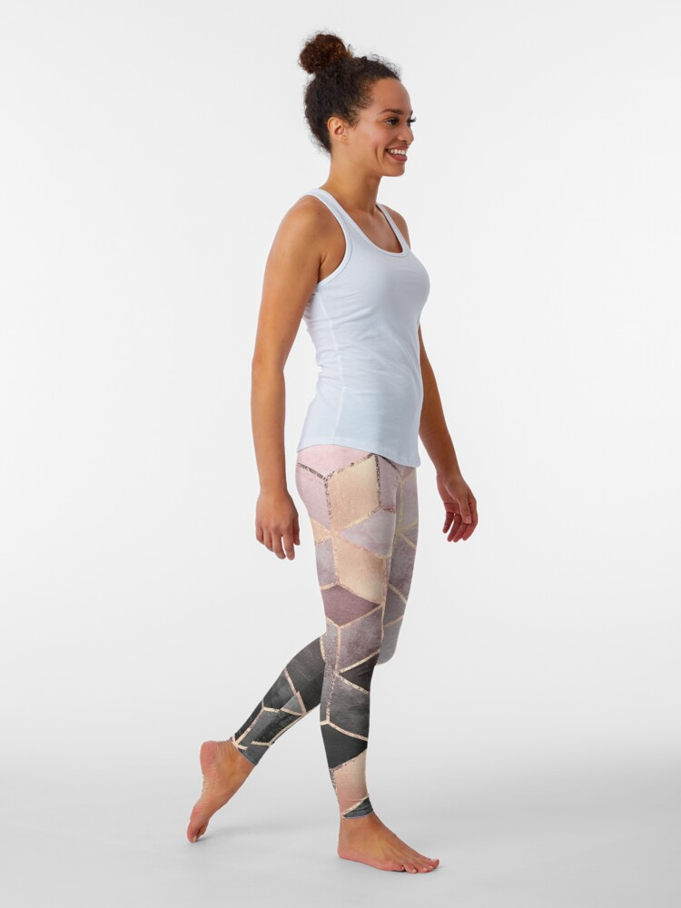 Alternate view of Pink And Grey Gradient Cubes Leggings