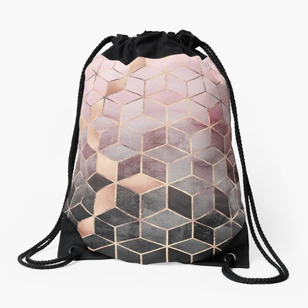 Pink And Grey Gradient Cubes Drawstring Bag