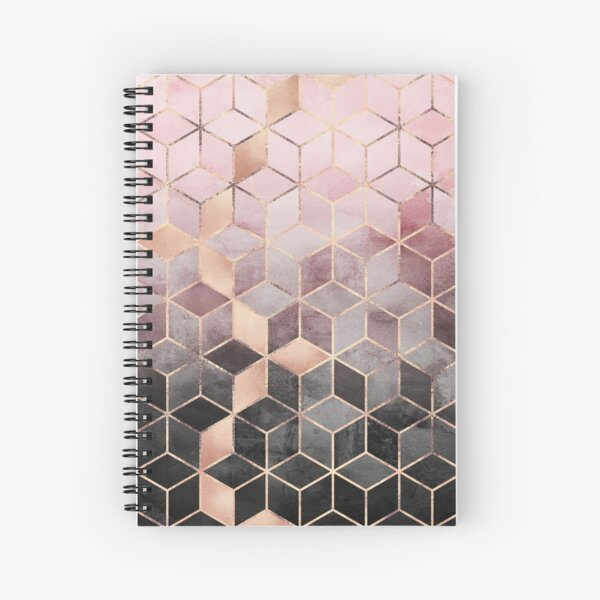 Pink And Grey Gradient Cubes Spiral Notebook