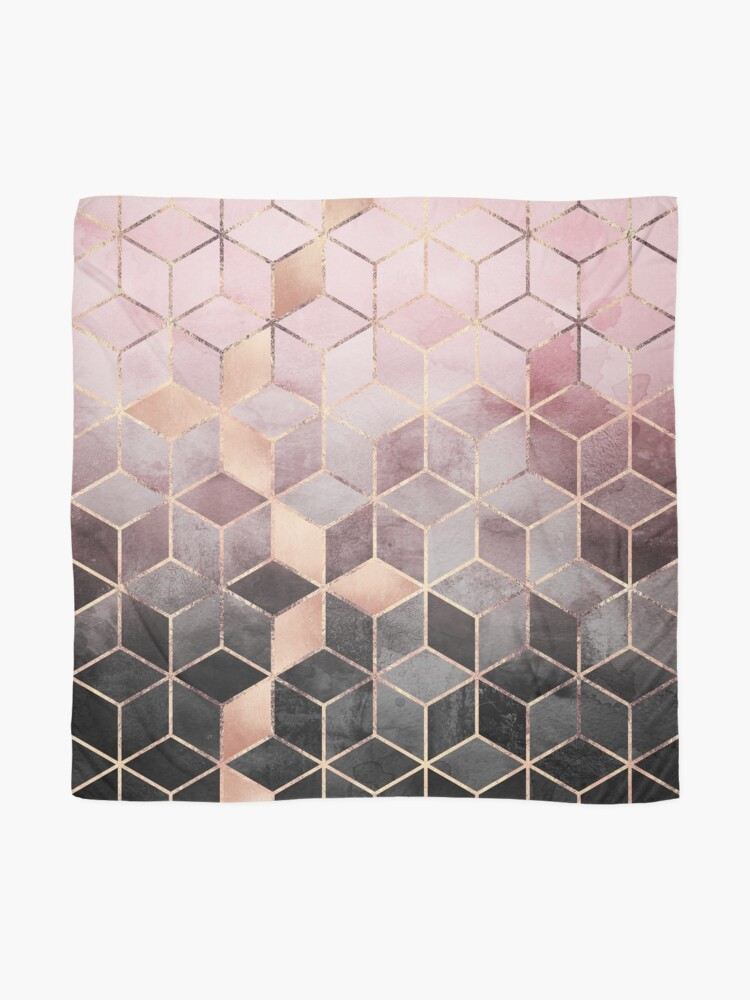 Alternate view of Pink And Grey Gradient Cubes Scarf
