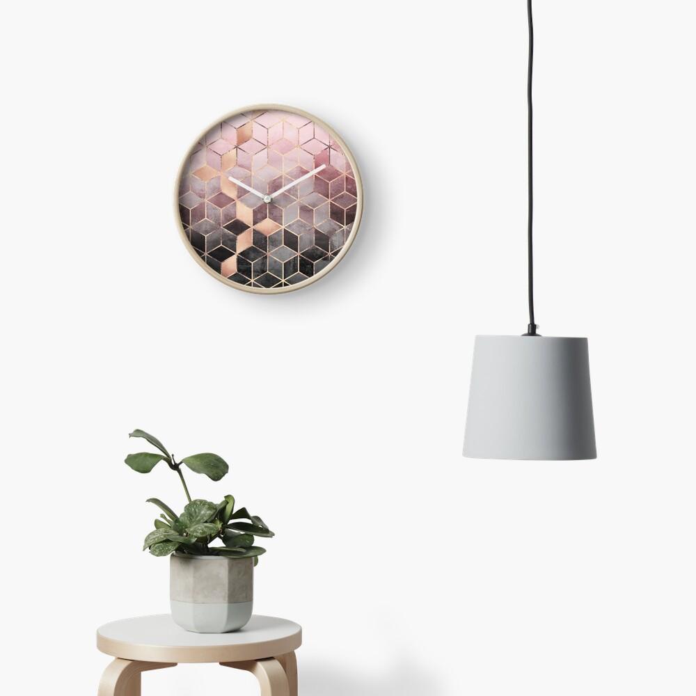 Rosa und graue Farbverlaufswürfel Uhr