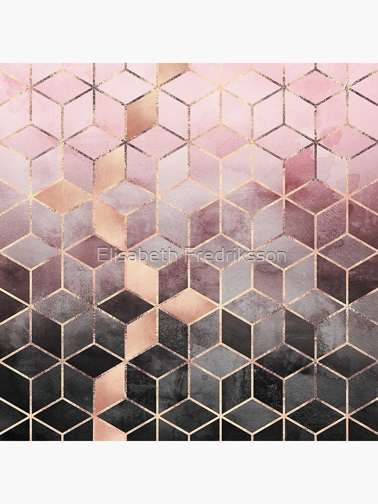 Pink And Grey Gradient Cubes by foto-ella