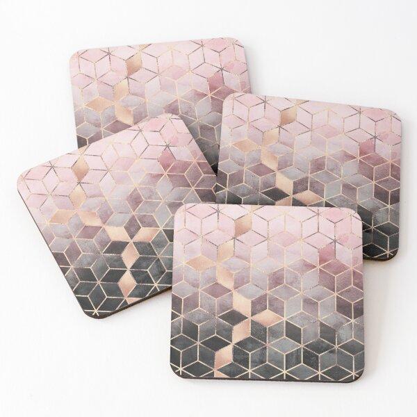 Cubos de degradado rosa y gris Posavasos (lote de 4)