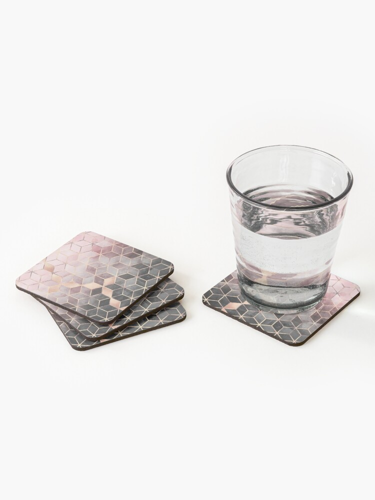 Alternate view of Pink And Grey Gradient Cubes Coasters (Set of 4)