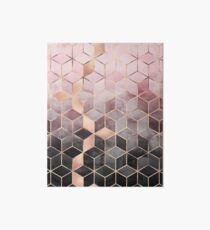 Pink And Grey Gradient Cubes Art Board Print