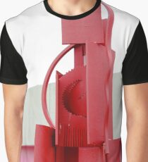 Red Abstract Sculpture Graphic T-Shirt