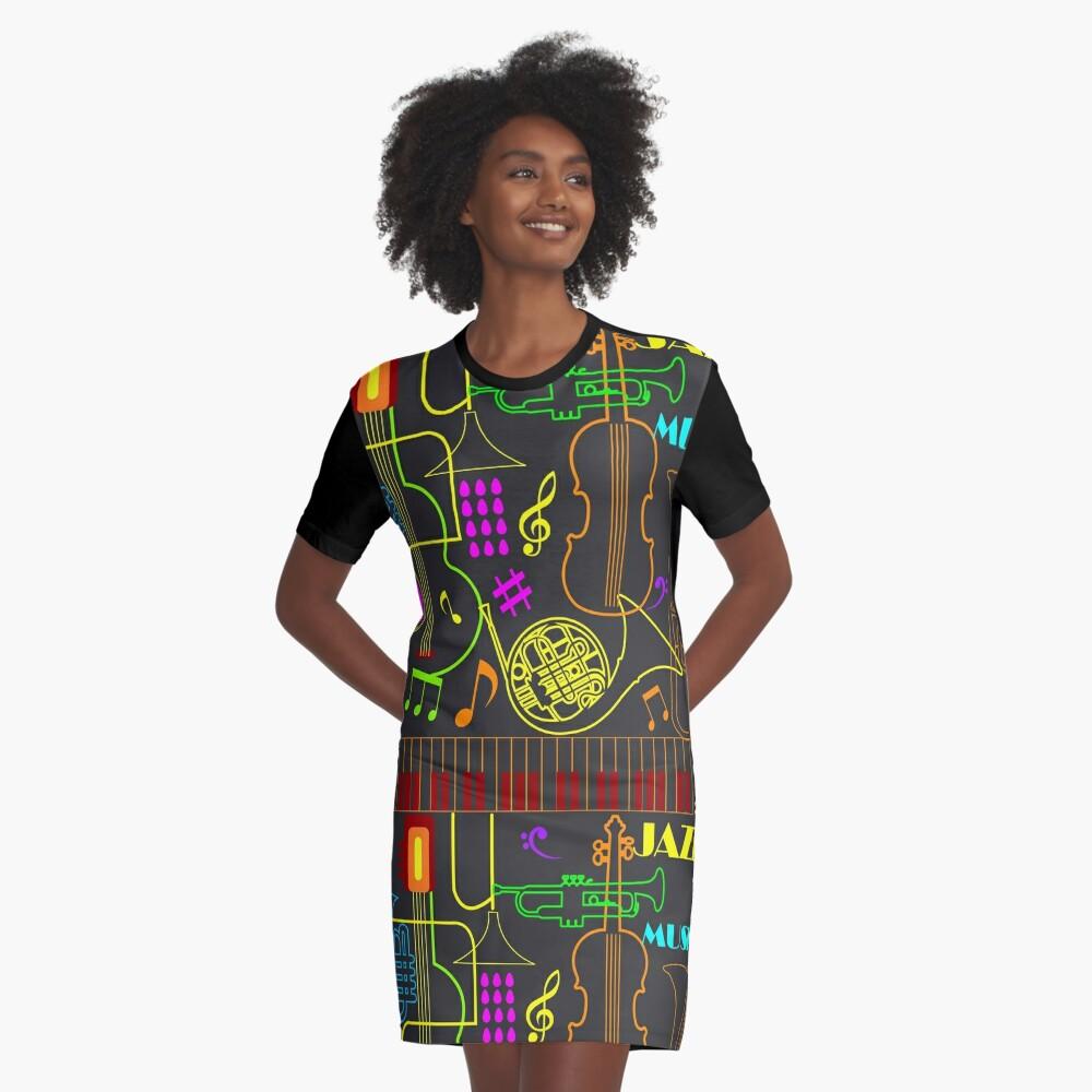 Neon Jazz Fest Graphic T-Shirt Dress