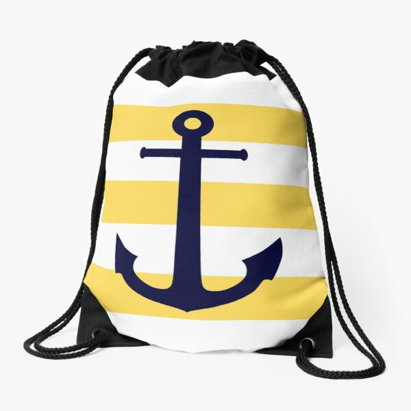 Nautical Navy Blue Anchor On Mustard Yellow Stripes Drawstring Bag