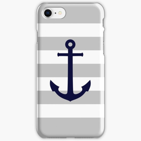 Nautical Navy Blue Anchor On Gray Stripes iPhone Snap Case