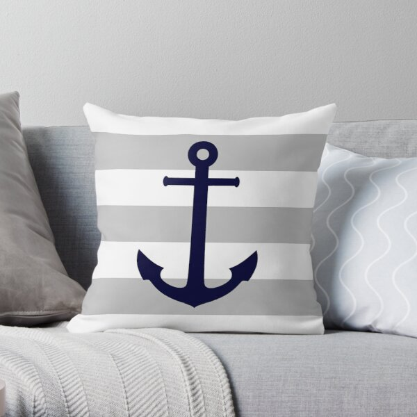 Nautical Navy Blue Anchor On Gray Stripes Throw Pillow
