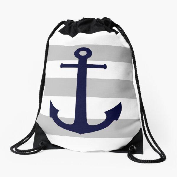 Nautical Navy Blue Anchor On Gray Stripes Drawstring Bag