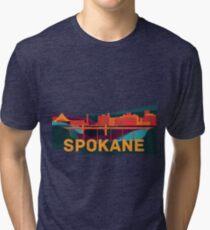 Abstract Spokane Cityscape Tri-blend T-Shirt