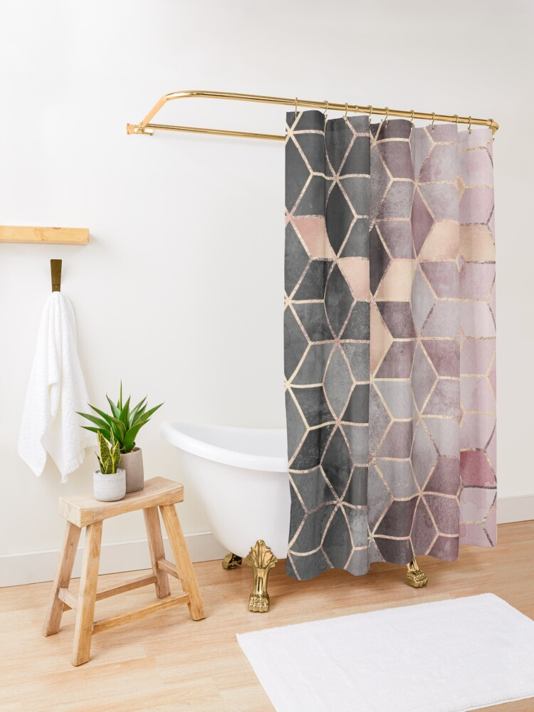 Alternate view of Pink And Grey Gradient Cubes Shower Curtain