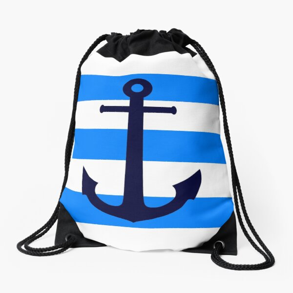 Nautical Navy Blue Anchor On Azure and White Stripes Drawstring Bag