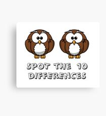 spot the differences, cartoon owls Canvas Print