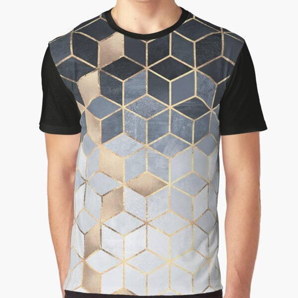 Soft Blue Gradient Cubes Graphic T-Shirt