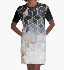 Soft Blue Gradient Cubes Graphic T-Shirt Dress