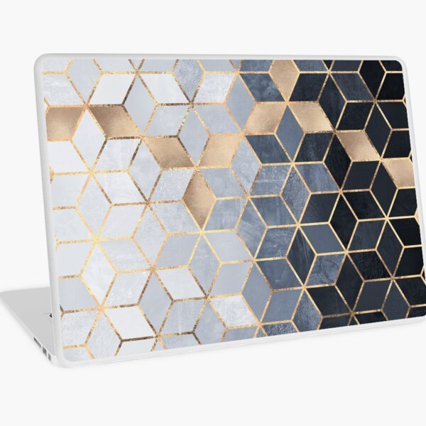 Soft Blue Gradient Cubes Laptop Skin