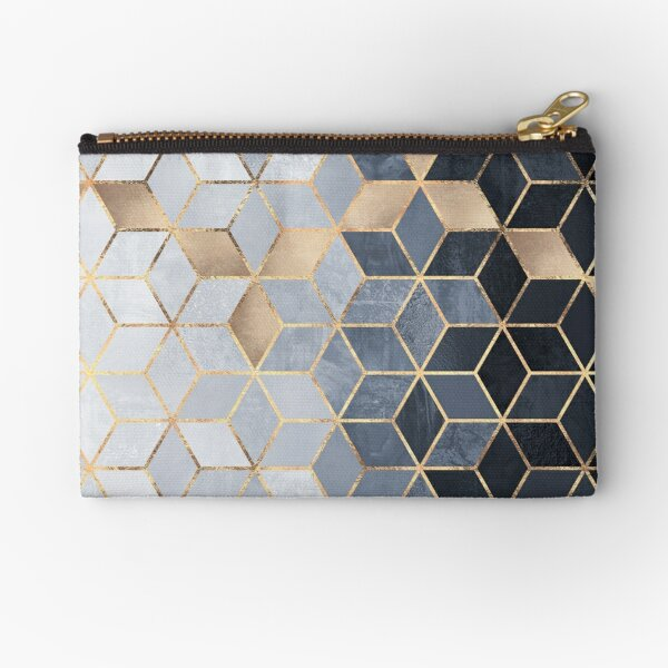 Soft Blue Gradient Cubes Zipper Pouch