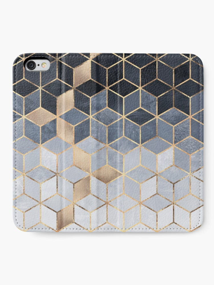 Alternate view of Soft Blue Gradient Cubes iPhone Wallet