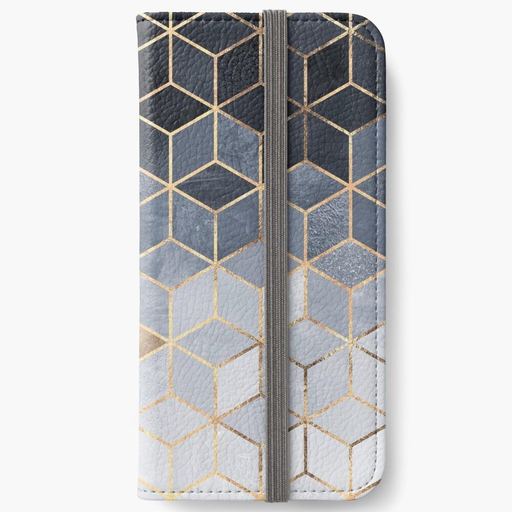 Soft Blue Gradient Cubes iPhone Wallet