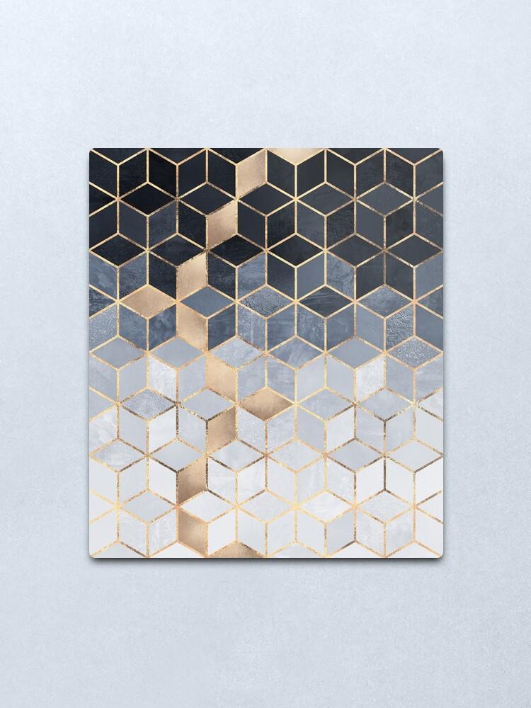 Alternate view of Soft Blue Gradient Cubes Metal Print