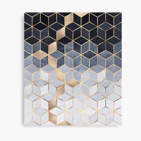 Soft Blue Gradient Cubes Canvas Print