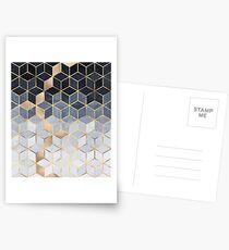Weiche blaue Farbverlaufswürfel Postkarten