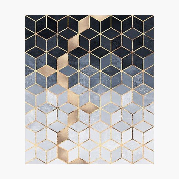 Soft Blue Gradient Cubes Photographic Print