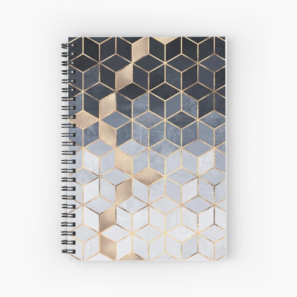 Soft Blue Gradient Cubes Spiral Notebook